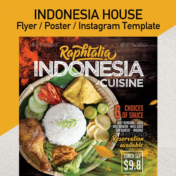 Indonesia Cuisine Restaurant Promotion Flyer or Poster Template - Set of 3 Templates