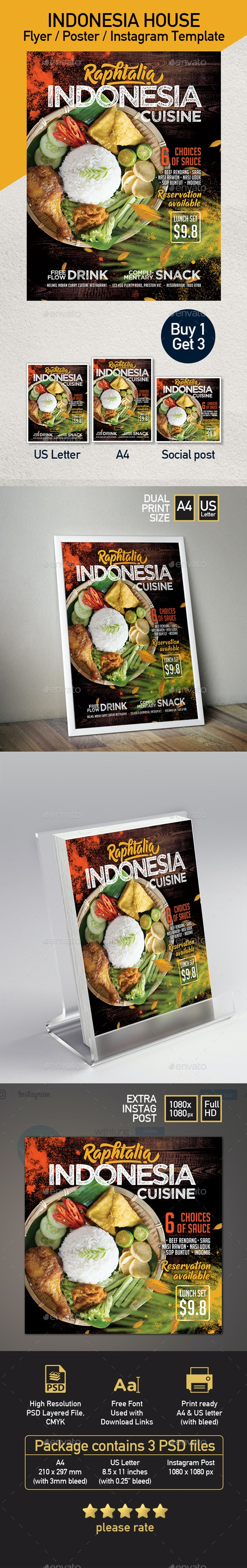 Indonesia Cuisine Restaurant Promotion Flyer or Poster Template - Set of 3 Templates - Restaurant Flyers