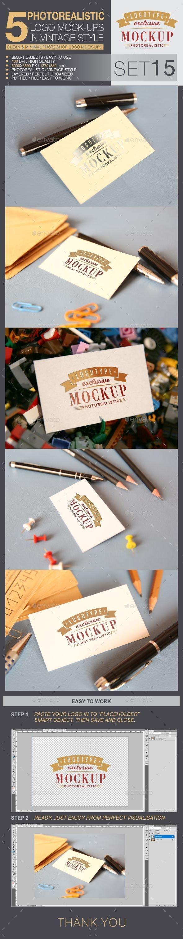 5 Logo Mock-Ups In Vintage Style - Set 15 - Logo Product Mock-Ups