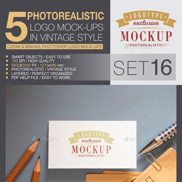 5 Logo Mock-Ups In Vintage Style - Set 16