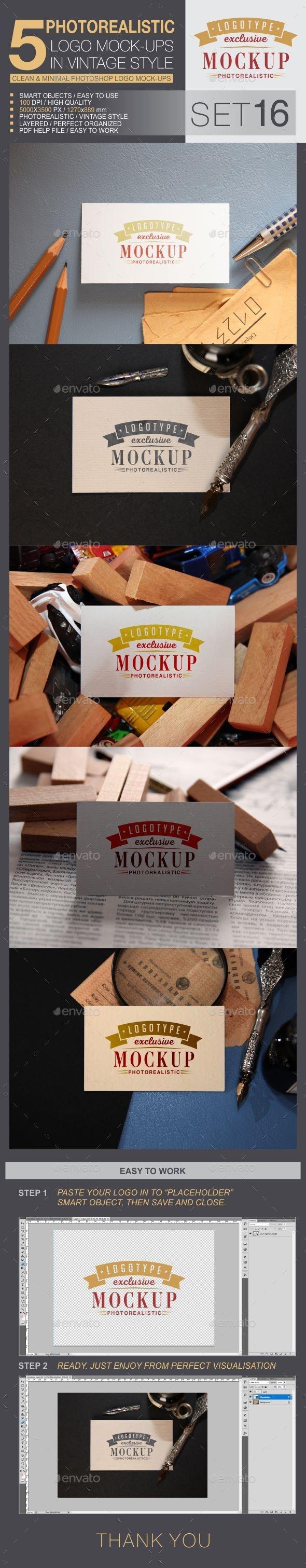 5 Logo Mock-Ups In Vintage Style - Set 16 - Logo Product Mock-Ups