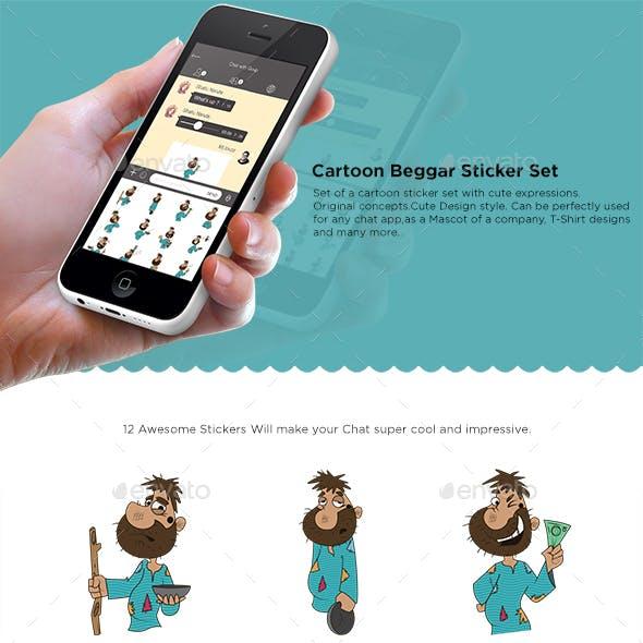 Cartoon Beggar Stickers