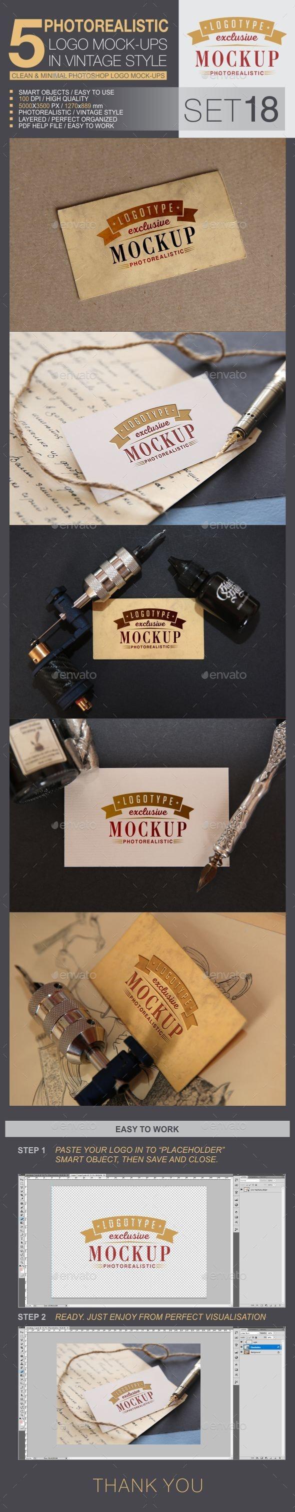 5 Logo Mock-Ups In Vintage Style - Set 18 - Logo Product Mock-Ups