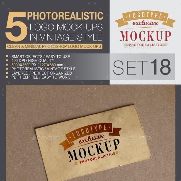 5 Logo Mock-Ups In Vintage Style - Set 18