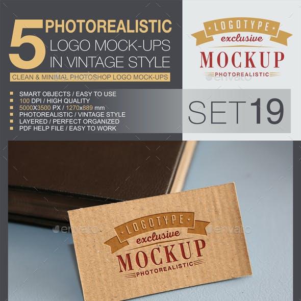 5 Logo Mock-Ups In Vintage Style - Set 19