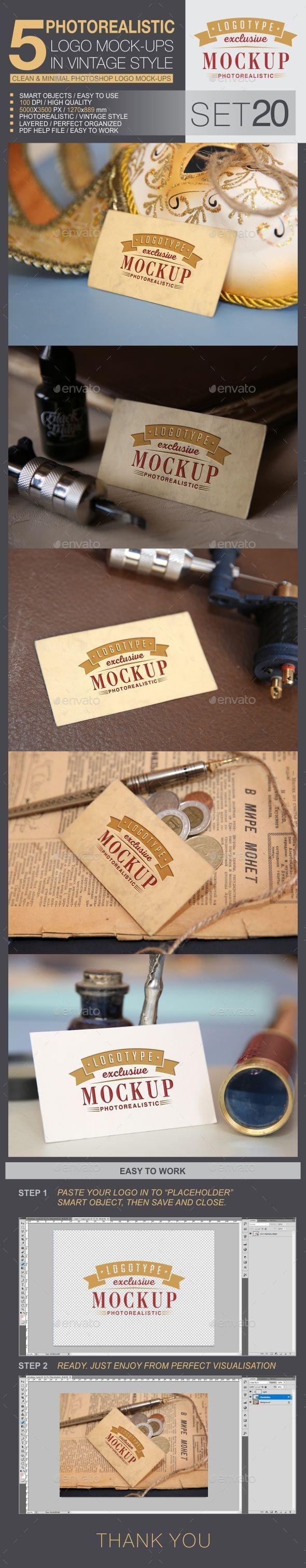 5 Logo Mock-Ups In Vintage Style - Set 20 - Logo Product Mock-Ups