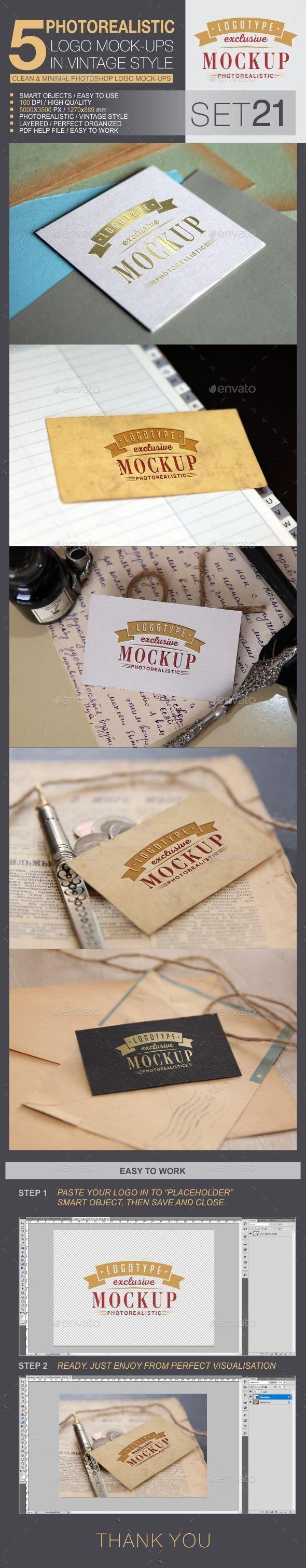 5 Logo Mock-Ups In Vintage Style - Set 21 - Logo Product Mock-Ups