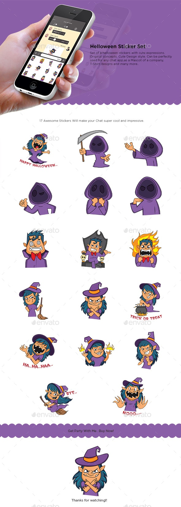 Cartoon Halloween Sticker Set - Miscellaneous Characters
