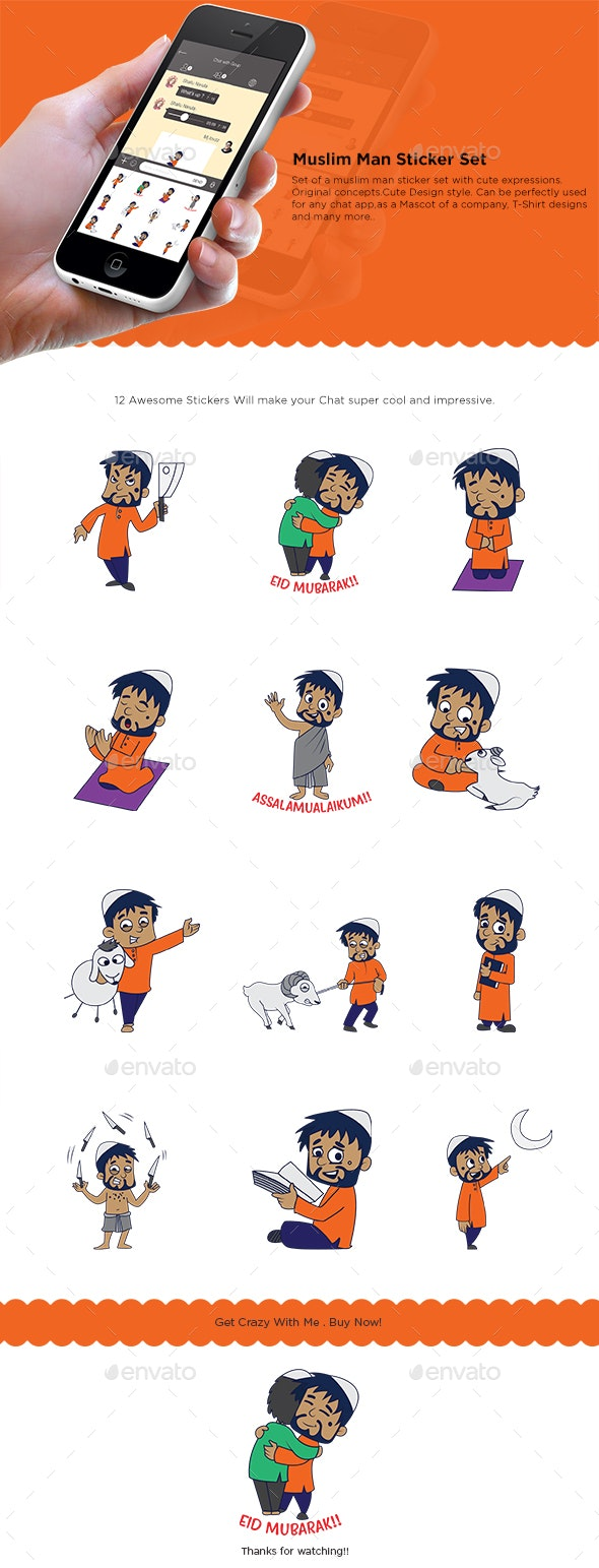 Cartoon Muslim Man Set - People Characters