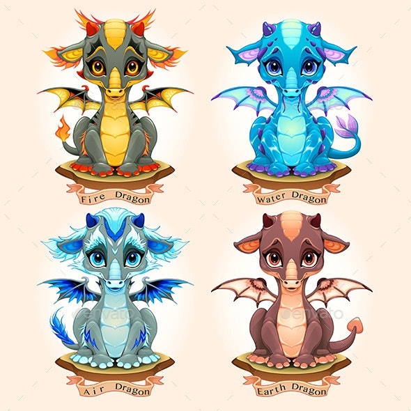 Collection of Four Natural Element Baby Dragons - Animals Characters