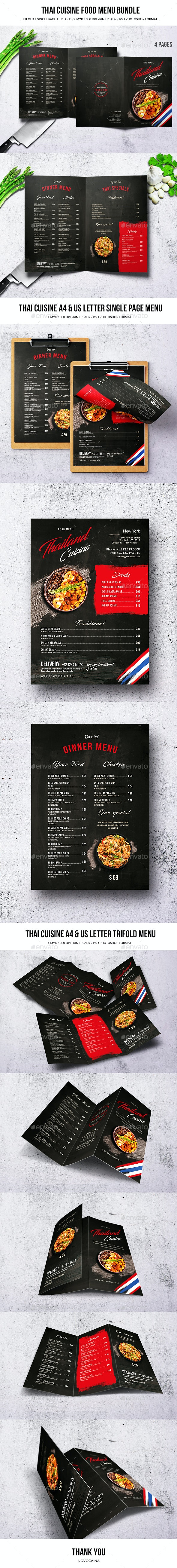 Thai Cuisine Food Menu Bundle - Food Menus Print Templates