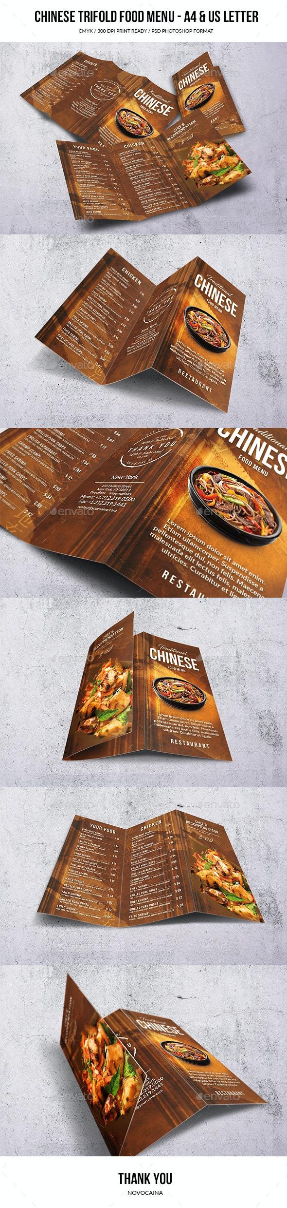 Chinese A4 & US Letter Trifold Food Menu - Food Menus Print Templates