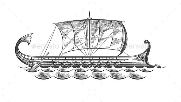 Ancient Greek Galley - Miscellaneous Vectors