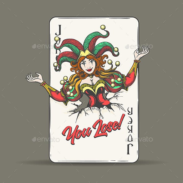 Joker Playing Card with Wording You Lose