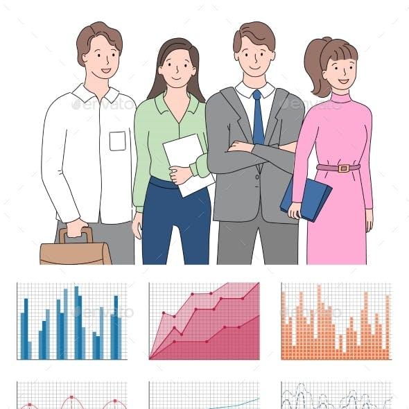 Teamwork Presentation Chart and Graph Icons Vector