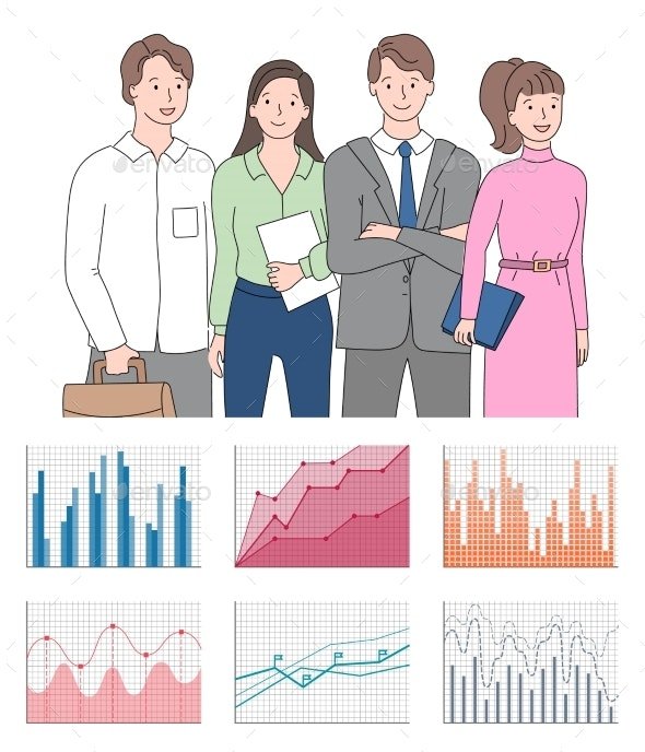 Teamwork Presentation Chart and Graph Icons Vector - Concepts Business