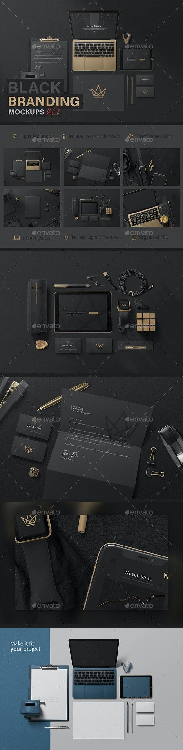 Black Branding Mockups Vol.1 - Miscellaneous Product Mock-Ups