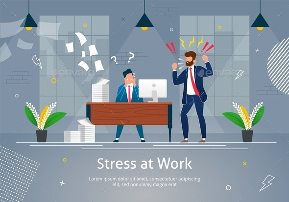 Boss Man Character Screaming on Stressed Worker - People Characters