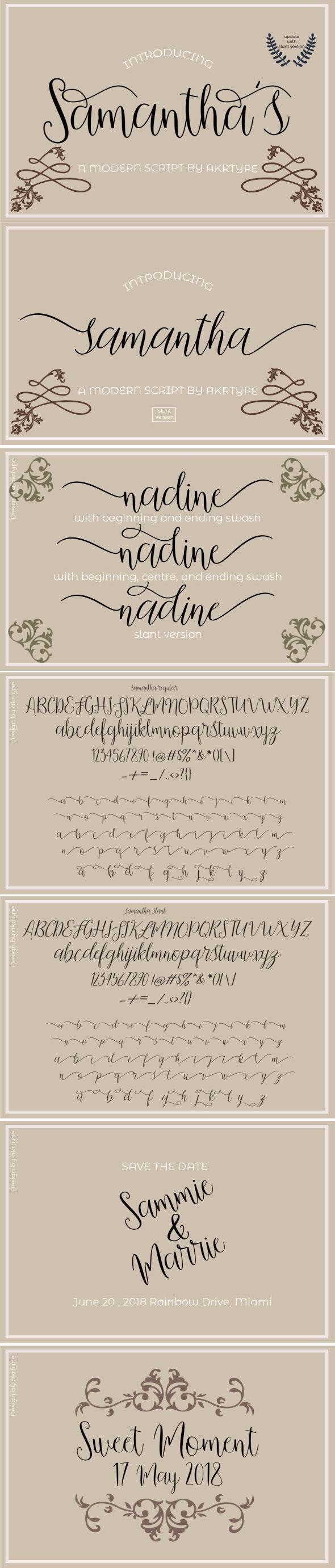 Samantha script - Script Fonts