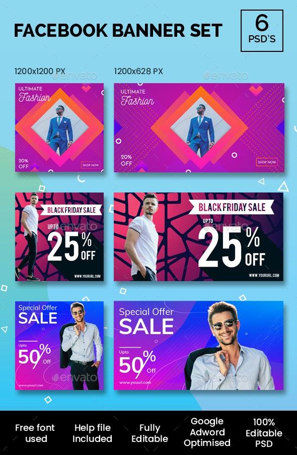 Facebook Banner Set - Banners & Ads Web Elements