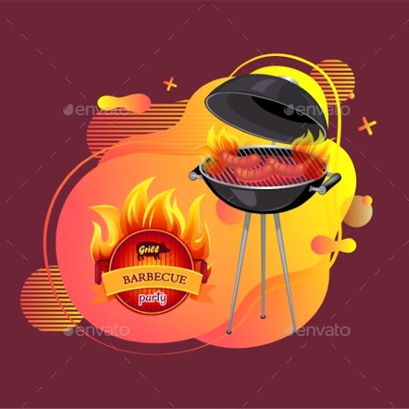 Barbecue Party Cookout and Grilling Banner Vector
