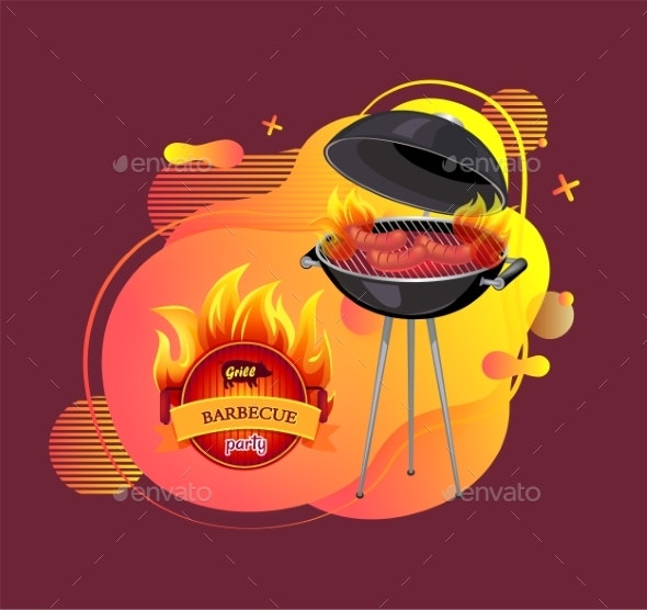 Barbecue Party Cookout and Grilling Banner Vector - Man-made Objects Objects