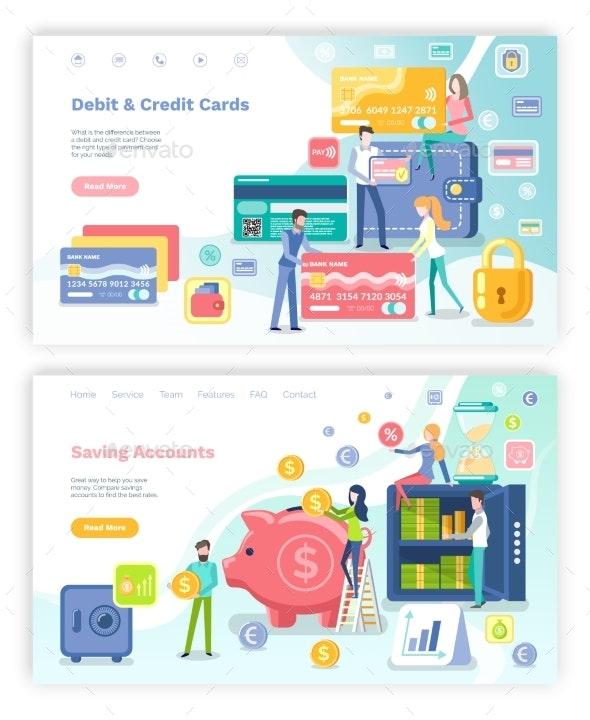 Debit and Credit Card Saving Accounts Web Set - Miscellaneous Conceptual