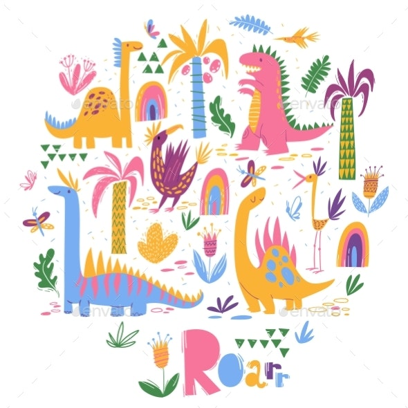 Vector Design with Dinosaurs - Animals Characters