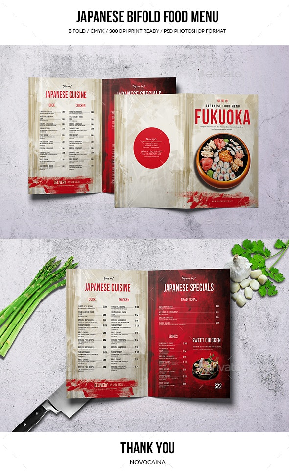 Japanese Bifold A4 & US Letter Food Menu