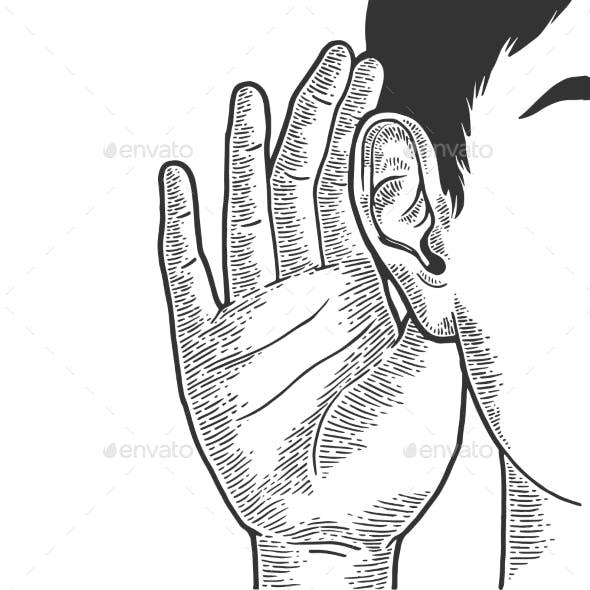 Hand Near Ear To Hear Better Sketch Engraving