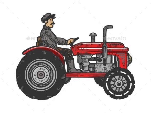 Agricultural Tractor Color Sketch Engraving Vector - Miscellaneous Vectors