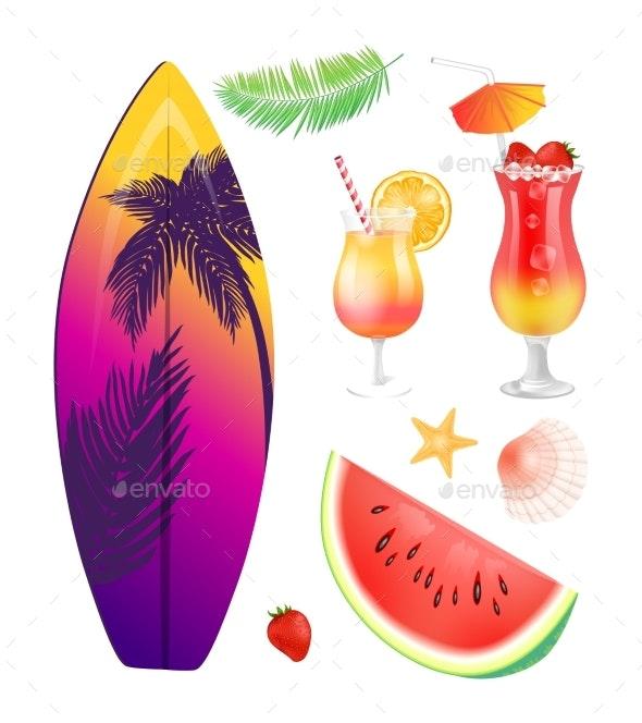 Surfing Board Summer Icons Set Vector Illustration