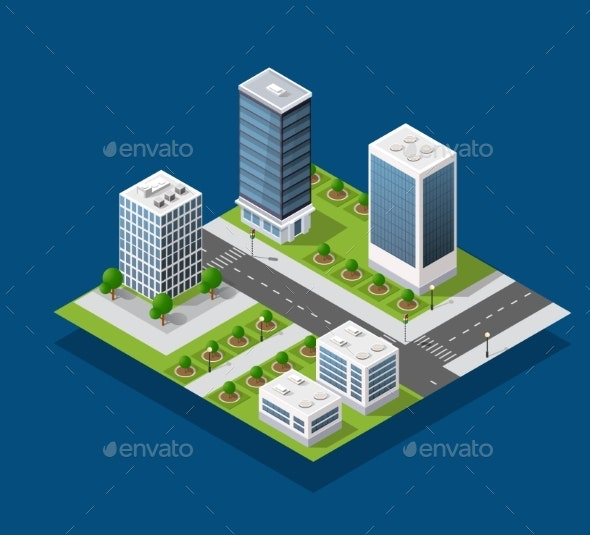 Isometric City Block - Buildings Objects
