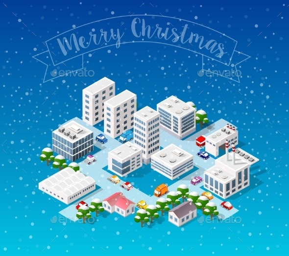 Winter Christmas Landscape - Buildings Objects