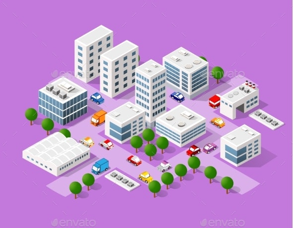 Isometric Set of the Modern City - Buildings Objects