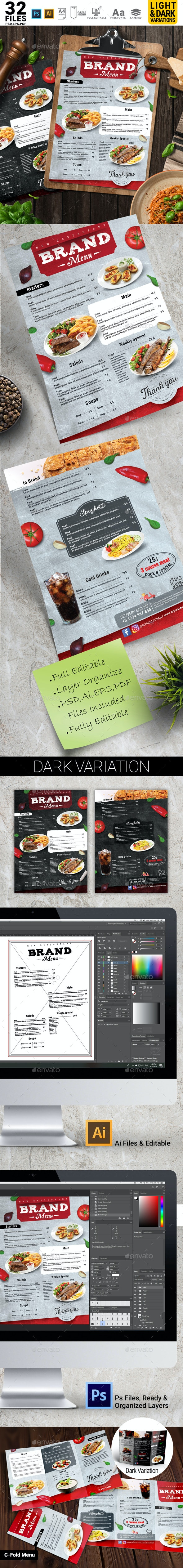 New Restaurant Menu Design Template+ C Fold Menu - Food Menus Print Templates