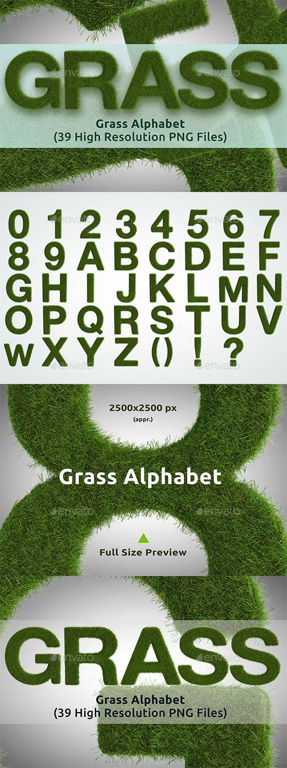 3D Grass Alphabet - Text 3D Renders