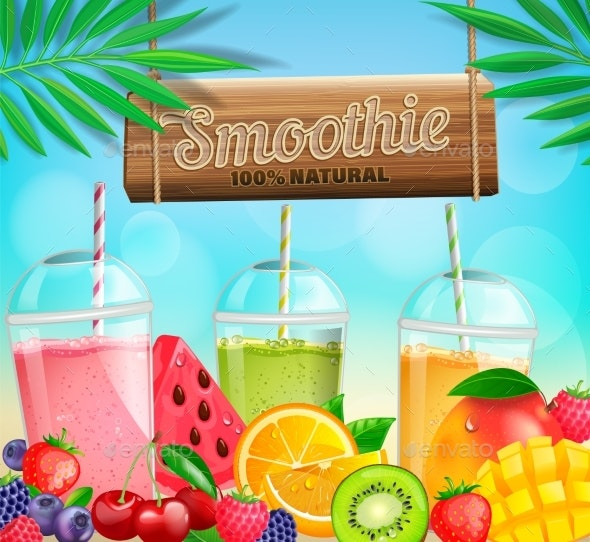 Fresh Fruit and Berry Smoothies Banner - Food Objects