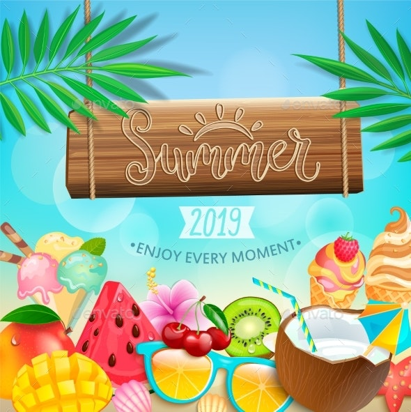 Summer 2019 Greeting Card on Tropical Background - Seasons Nature
