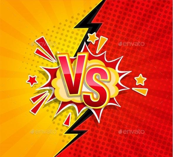 Versus Competitive Concept in Comic Style - Miscellaneous Vectors