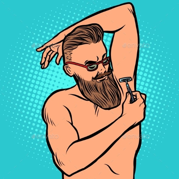 Bearded Hipster Man Shaves His Armpit with a Razor - People Characters