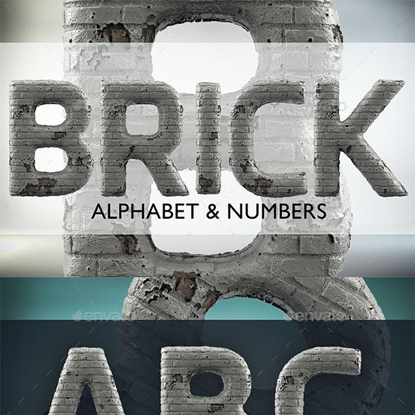 3D Render Set of Grunge White Brick Alphabet