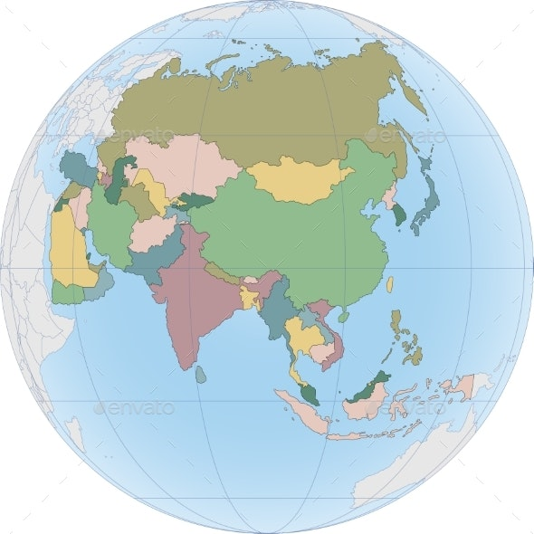 Asia Continent Is Divided By Country on the Globe - Backgrounds Decorative