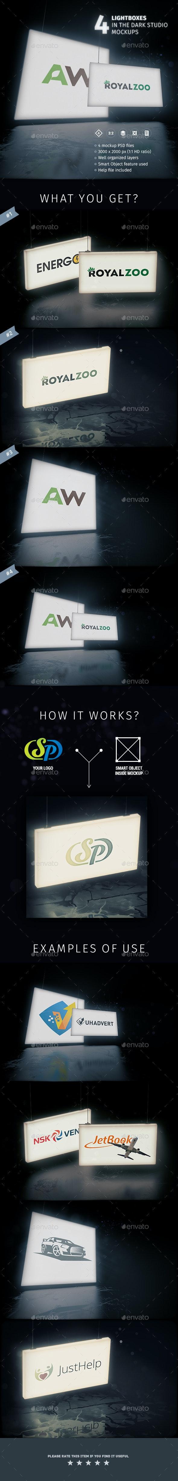 4 Lightboxes In The Dark Studio Mockups - Logo Product Mock-Ups