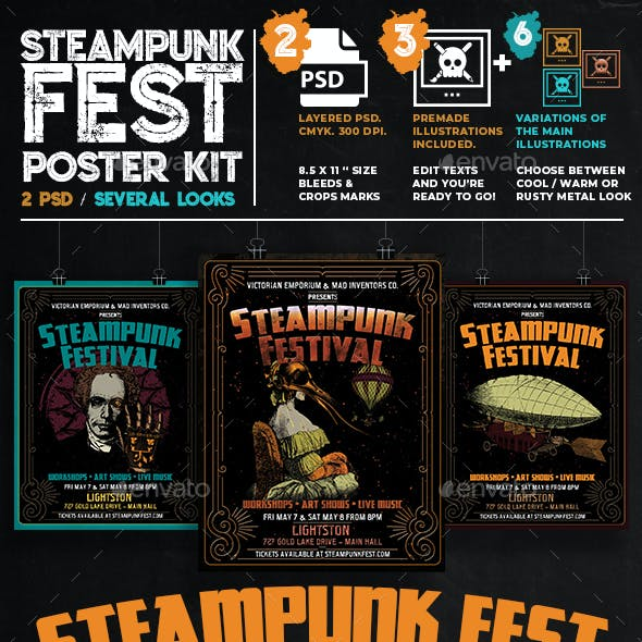 Victorian Steampunk Fest or Party Poster Template Set