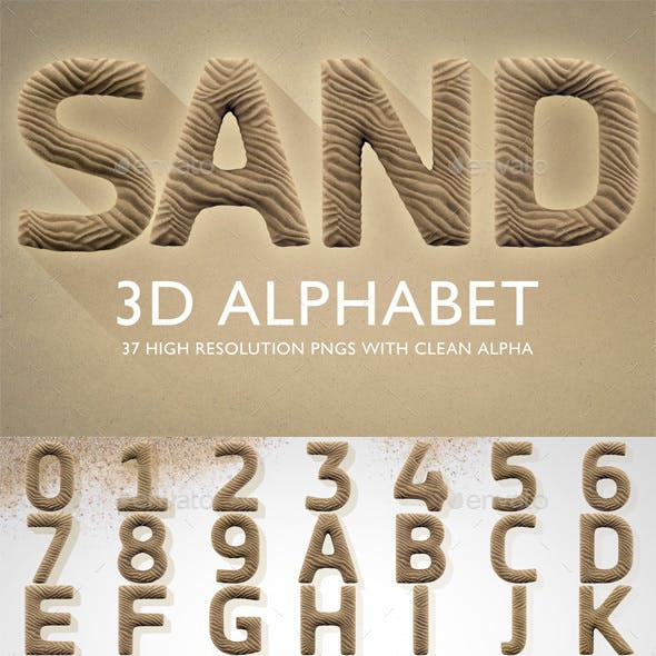 3D Render Set of Sand Alphabet
