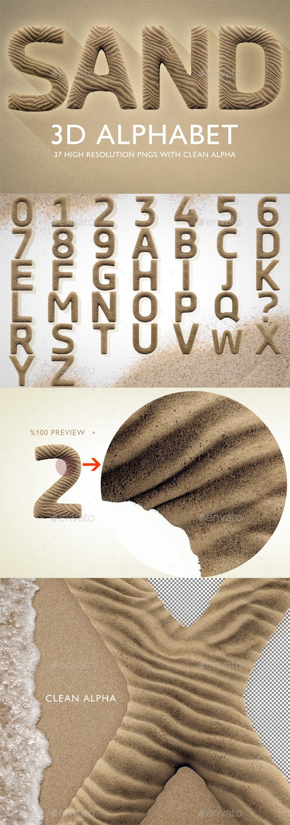 3D Render Set of Sand Alphabet - Text 3D Renders