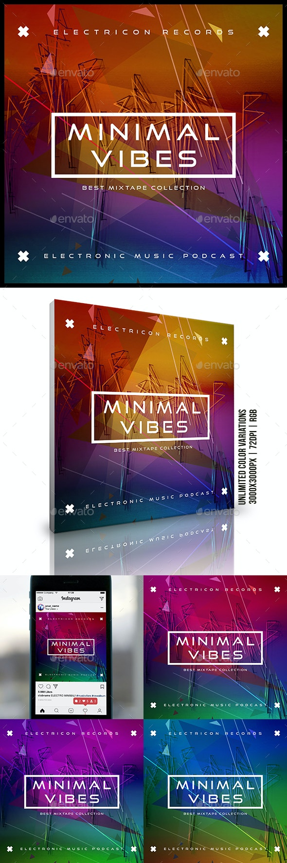 Minimal Vibes Electronic Music Album Cover Artwork Template - Miscellaneous Social Media
