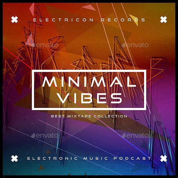 Minimal Vibes Electronic Music Album Cover Artwork Template