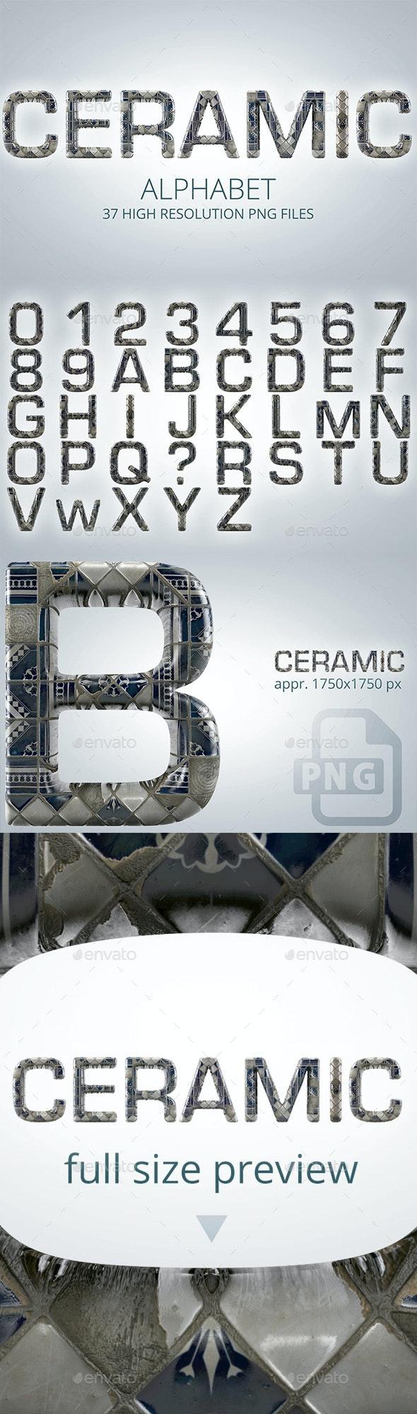 3D Render Set of a Ceramic Alphabet - Text 3D Renders